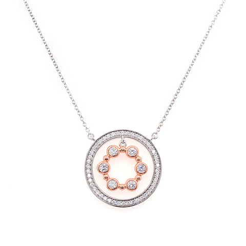 P141-RG - Two tone cz pendant on fine chain