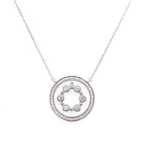 P141-RH - Rhodium circle cz pendant on fine chain