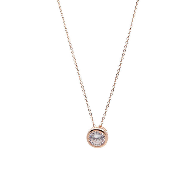 Rose gold plate cubic zirconia pendant on fine chain - P142-RG