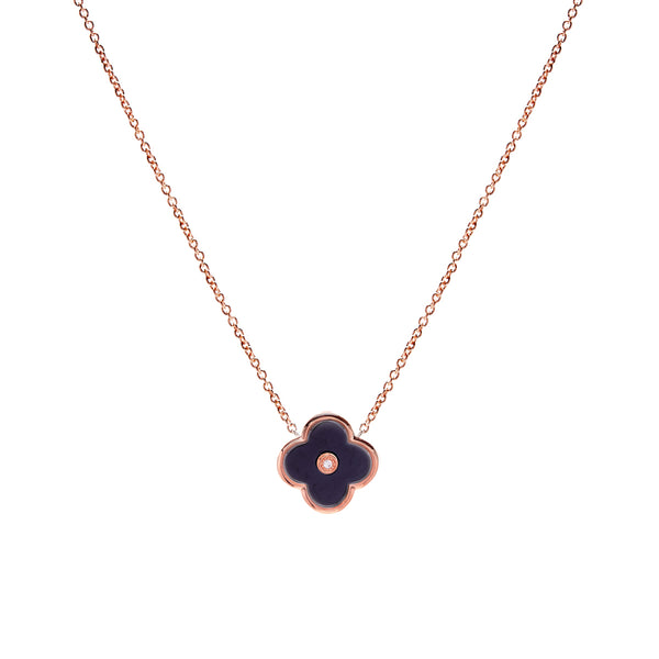 Rose Gold plate & solid black ceramic flower on fine chain- P21-BRG