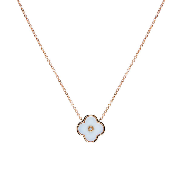 Yellow gold & solid white ceramic flower on fine chain- P21-WGP