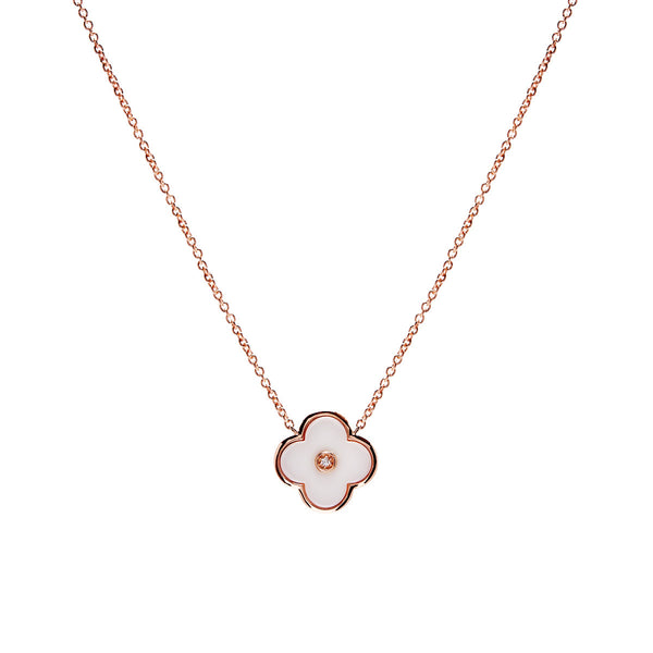 Rose gold & solid white ceramic flower on fine chain- P21-WRG
