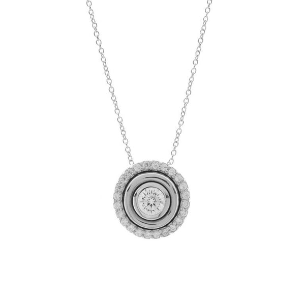 925 sterling silver, rhodium plate cubic zirconia round pendant on fine chain - P26-RH