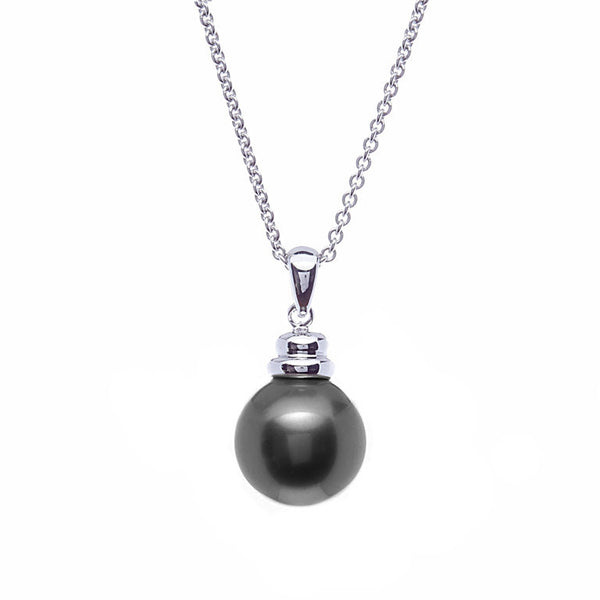 14mm round black pearl pendant with beehive top - P3-608RH