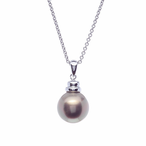 14mm round coffee pearl pendant with beehive top - P3-712RH