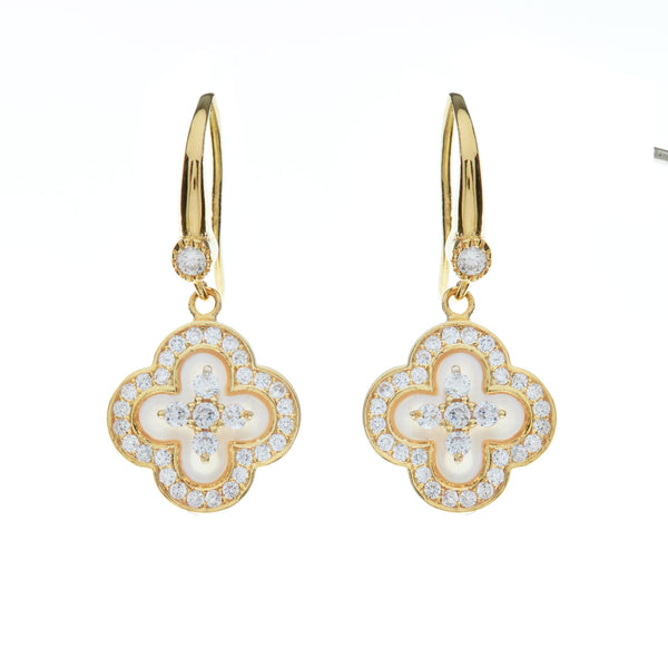 E1206-GP - Yellow gold flower mother of pearl & cz earrings