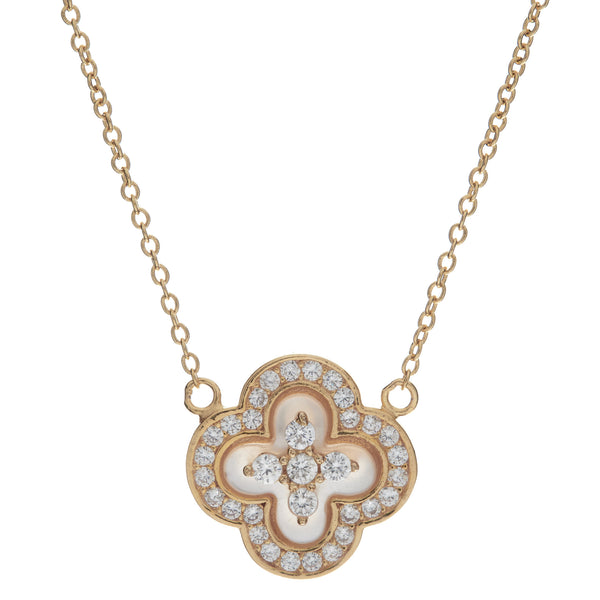 P1206-GP - Yellow gold flower mother pearl & cz necklace on fine chain