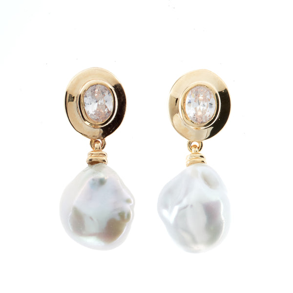 E176-GP - Gold, cz & keshi pearl earrings