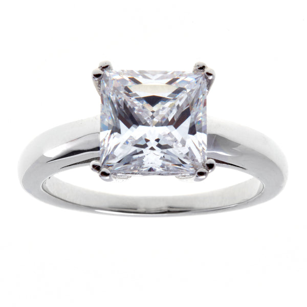 R12013 - Rhodium princess cut cz ring