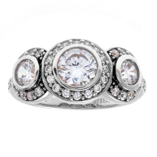 R2880 - Rhodium 3 x clear cz stone dress ring