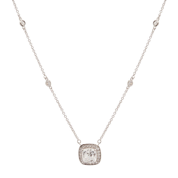 925 sterling silver, rhodium plate square cubic zirconia pendant on fine bezel chain - P32494-RH