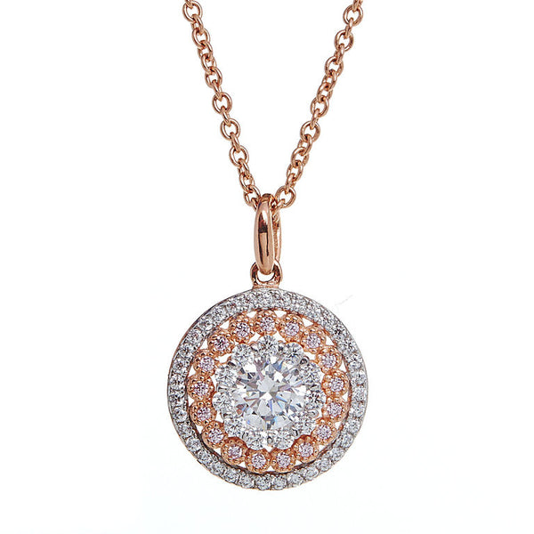 Rose gold plate and cubic zirconia pendant - P33217