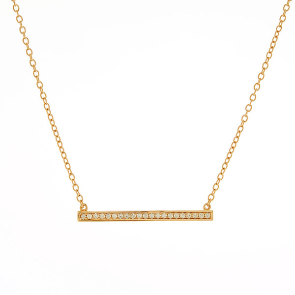 Gold plate cubic zirconia bar necklace - P3371-YG