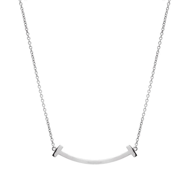 Sterling silver, rhodium plate solid bar necklace - P338-RH