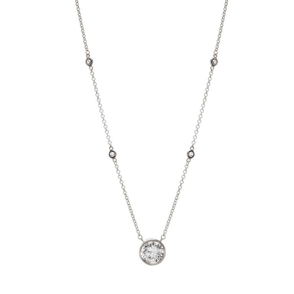 Cubic zirconia 925 sterling silver, rhodium plate pendant on chain - P36554-RH