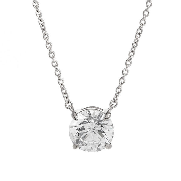 Sterling silver, rhodium plate claw set cubic zirconia on chain - P365-RH