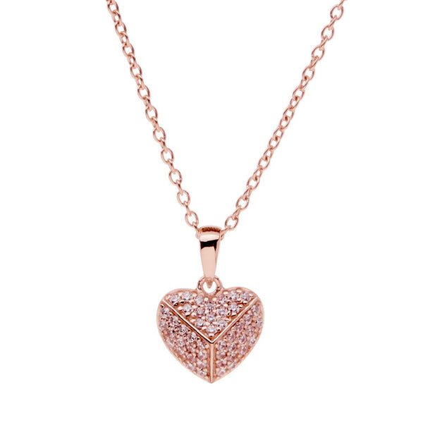 Rose gold pave cubic zirconia heart on rose gold chain - P397