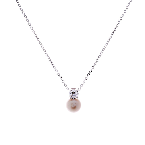 Freshwater pearl & cubic zirconia pendant- P530