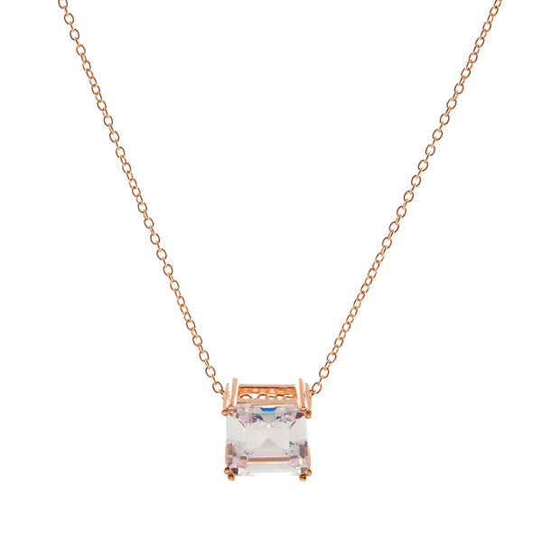 Rose gold plate ascher cut cubic zirconia pendant on fine chain - P616-RG