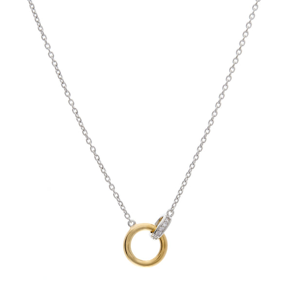 P69-GP - Two tone rhodium & gold  cz pendant on fine silver chain