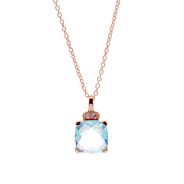 Blue topaz & cubic zirconia rose gold pendant on rose gold chain - P721-BT