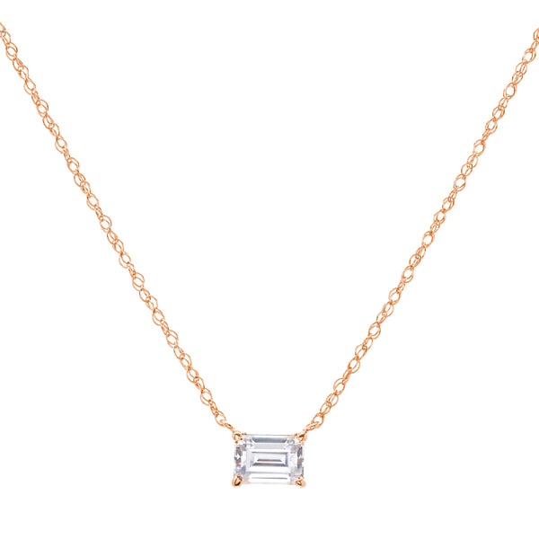 P93-RG - Rose gold cz baguette necklace