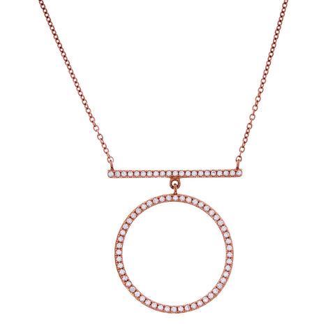 Rose gold & cubic zirconia bar and circle pendant- P7980-RG