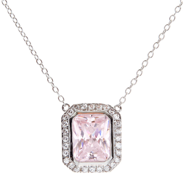 P861-PK - Rhodium rectangle lite pink & cz pendant on fine chain