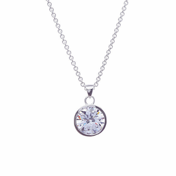 Rhodium 10mm bezel set cz pendant - P901