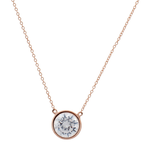 Rose gold plate bezel set cubic zirconia pendant on fine chain - P9468-RG