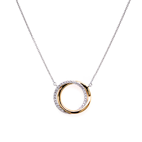 P9713-GP - Two tone cz circle pendant on fine chain