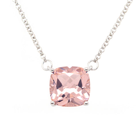 P9961-M - Rhodium square pink pendant on fine chain