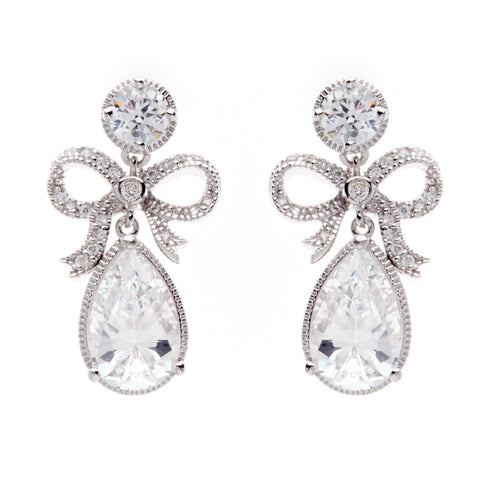 Rhodium cz bow earrings - E16070
