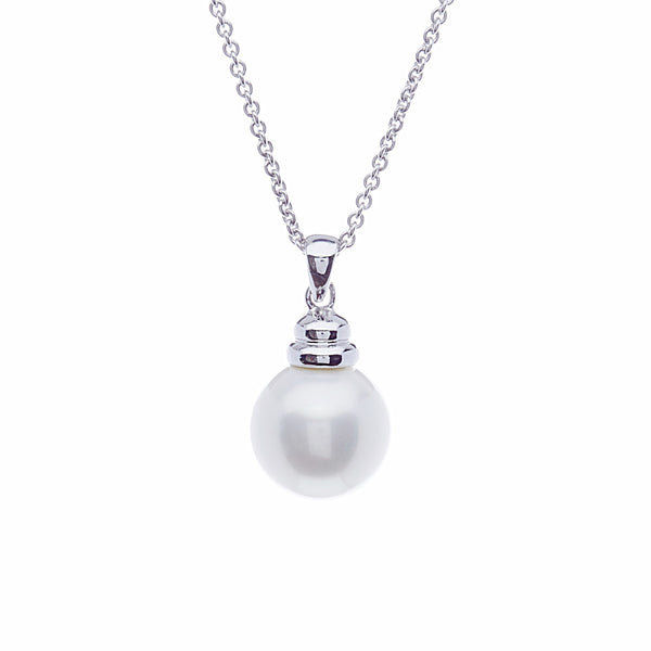 14mm round white pearl pendant with beehive top - P3-701RH