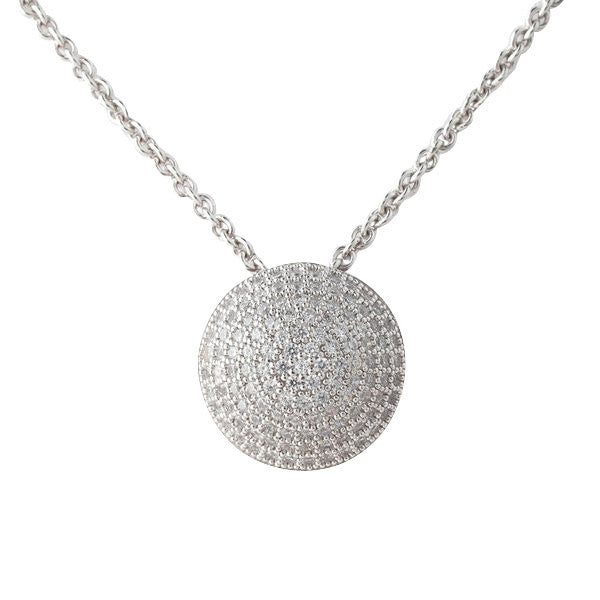 925 sterling silver, rhodium plate, cubic zirconia micro pave round pendant - P30256