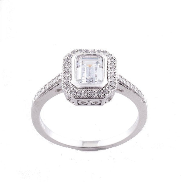 Sterling silver, rhodium plate, cubic zirconia micro pave rectangle dress ring - R10485