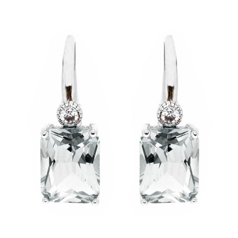 E7666-RH - Rhodium rectangle clear cubic zirconia earrings