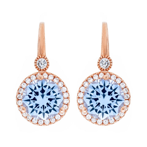 E7661-BRG - Rose gold blue topaz & cz earrings