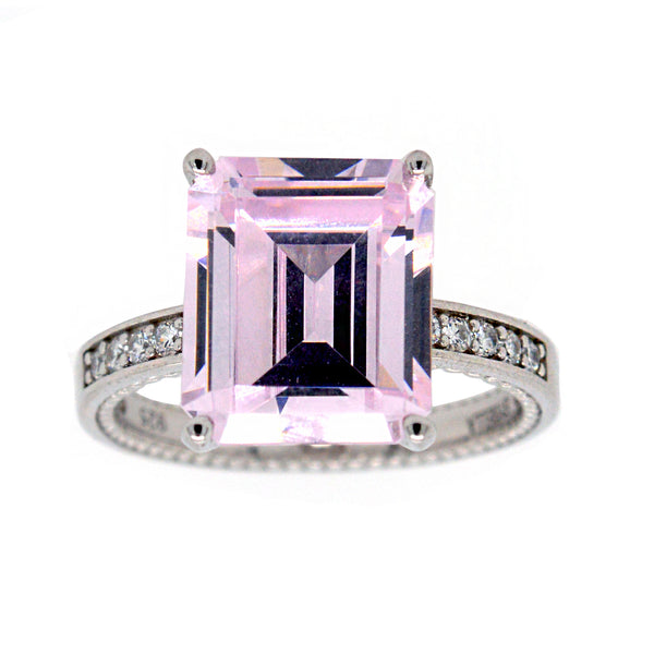 R14183 - Baguette cut light pink cubic ring