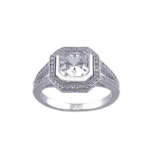 925 sterling silver, rhodium plated micro pave cubic zirconia square dress ring - R10677