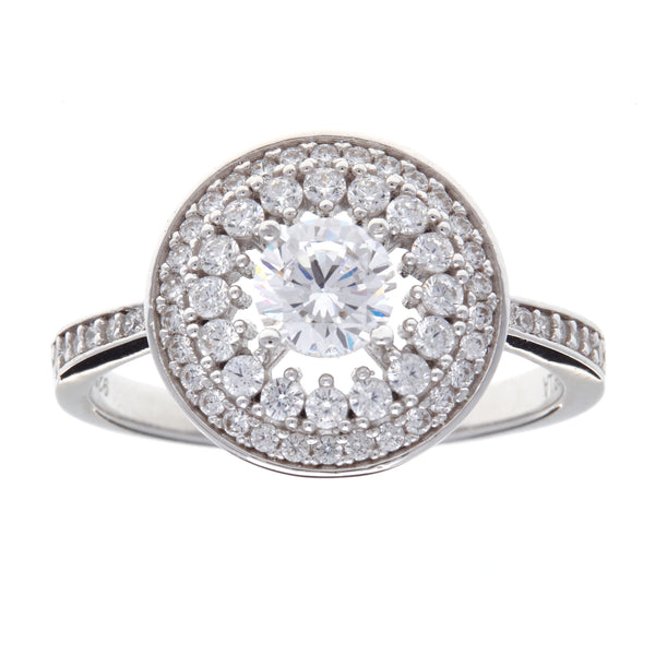 R10794-Round rhodium cz dress ring