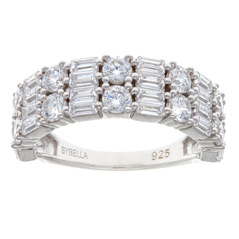 R10848 - Rhodium baguette & cz double row ring