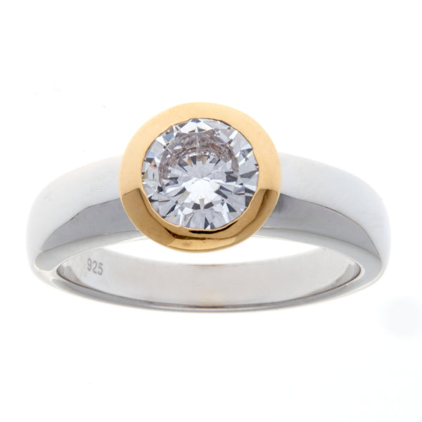 R1174-GP - Two tone rhodium & gold cz ring