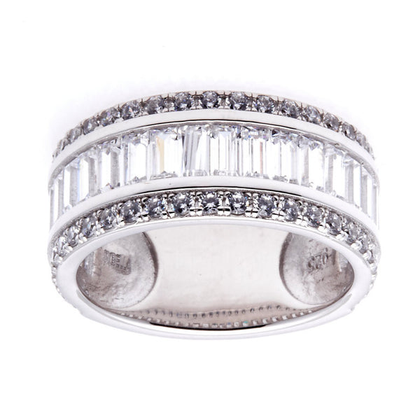 Sterling silver, rhodium plate princess cut cubic zirconia ring - R11861