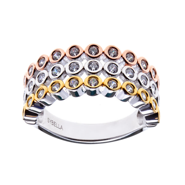 Tri coloured cubic zirconia dress ring R12036