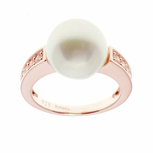 Rose gold plate cubic zirconia & white button - R1206-RG
