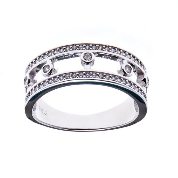 925 sterling silver, rhodium plate cubic zirconia closed-crown band ring - R12237