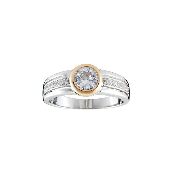R1375-GP - Two toned gold plate cz ring