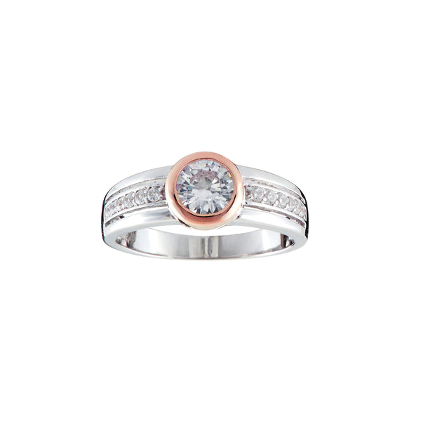 R1375-RG - Two toned rose gold plate cz ring