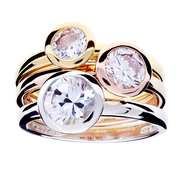 R1701- Tri colour cz ring set